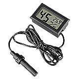 Anbaituor Eingebettetes Digital-Thermometer-Hygrometer mit Externer Sonde Messgerät - für Reptil...