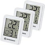 Bresser Thermometer Hygrometer Temeo Hygro Indicator 3er Set zum Aufstellen oder zur Wandmontage mit...