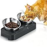 PewinGo Futternapf Hund Katze Rostfreier Stahl, Rutschfeste Silikonbasis mit 0° und 15°...