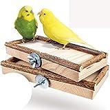 Vogelgaleria® 2er Set Sitzbretter 10x20cm mit Natur Holz Bordüre für Vögel wie Wellensittich...