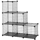SONGMICS Steckregal aus Drahtgitter individuell aufstellbar Cube Sideboard Regalschrank 93 x 31 x 93...