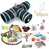 FYManny 35 Stück Katzenspielzeug Set mit Katzentunnel Bälle Federspielzeug Katzen Spielzeug...